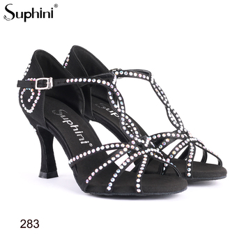 Professional Salsa Dance Shoes Suphini Latin Dance Shoes Flare Heel Professional Classical Crystal Dance Shoes