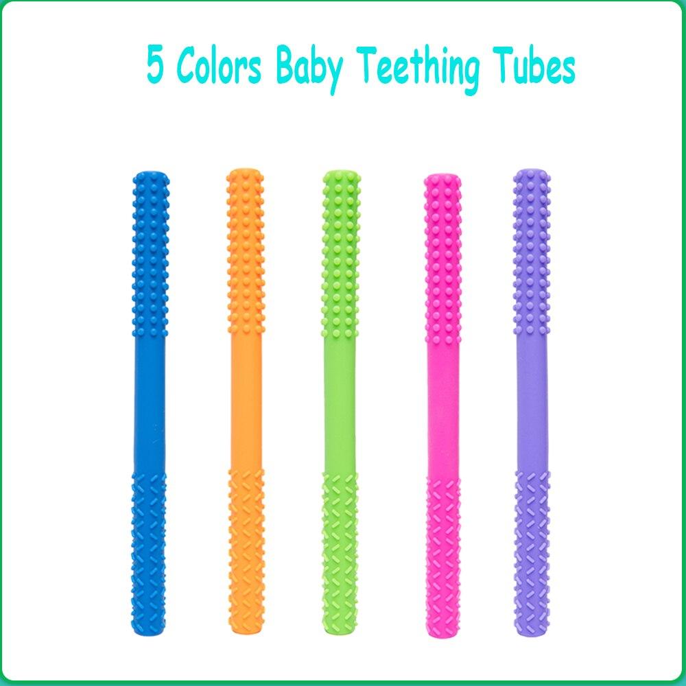 Лидер продаж детская зубная щетка трубки полые Прорезыватель для зубов пробки Мягкие Силиконовые Зубные игрушки для младенцев, безопасный,...