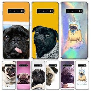 Śliczne mops podkładka dla psa etui na telefony do Samsung Galaxy S10 S20 Ultra uwaga 10 9 8 S9 S8 J4 J6 J8 + Lite Plus Pro S7 Coque