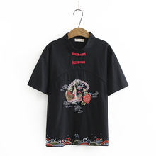 Chinese Style Women Oriental Tunic Blouse Red White Black Ethnic Pattern Embroidery Tops Female Bird Flower Stitchwork Blouse geo embroidery tassel detail blouse