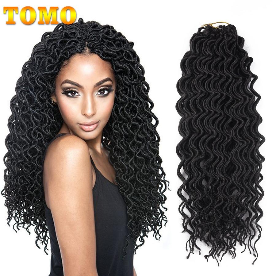TOMO 18Inch Faux Locs Curly Crochet Braids 24Strands Goddess Locs Hair Extensions Ombre Synthetic Braiding Hair Bohemian locks