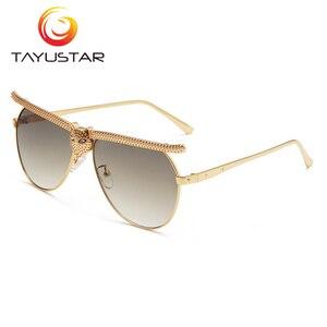 Image 3 - Tiiyu 女性男性サングラス 2020 ファッションの高級高品質猫ヘッドフレームサングラスインストリートトレンディラインストーンメガネ