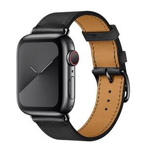 Image 4 - הכי חדש אמיתי עור שעון רצועת עבור אפל שעון סדרת 5 4 40mm/44mm להקת שעון צמיד רצועת השעון עבור אפל שעון סדרת 3 2