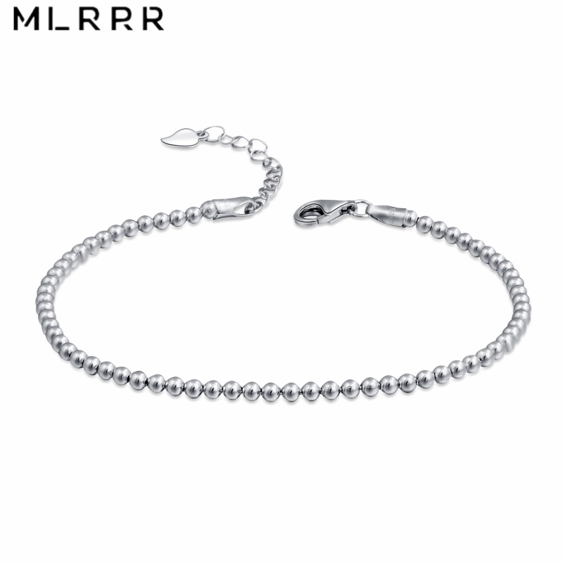 MLRRR Sterling 925 Silver Bracelet Simple 2 5mm Silver Beads Chain Strand Bracelet for Women Girl in Chain Link Bracelets from Jewelry Accessories