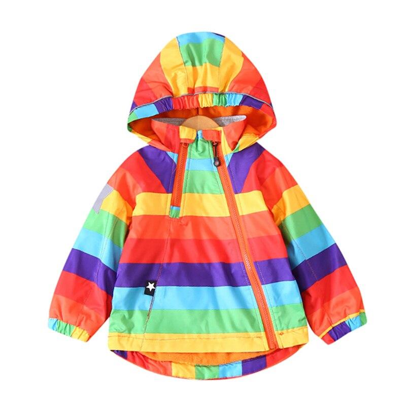 Sweat à capuche épais Trench manteaux bébé garçons filles arc-en-ciel rayure hiver vestes à manches longues actif coupe-vent Outwear 12 M-4 T A20