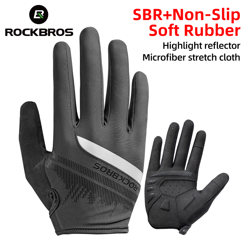 ROCKBROS Cycling Men's Gloves Spring Autumn Bike Cycling Gloves Sports Shockproof Breathable MTB Mountain Bike Gloves Motorcycle