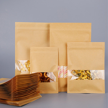 Kraft-Paper-Bags Pouches Coffee-Bean-Packaging Tea Food-Customizable-Logo with Window-Resealable-Grip