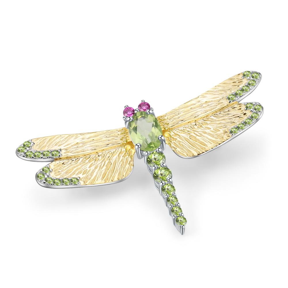 GEM'S BALLET 1.13Ct Natural Green Peridot Gemstone Brooch Fine Jewelry 925 Sterling Sliver Handmade Dragonfly Brooches For Women-in Hair Jewelry,Brooches & Body Jewelry from Jewelry & Accessories    1