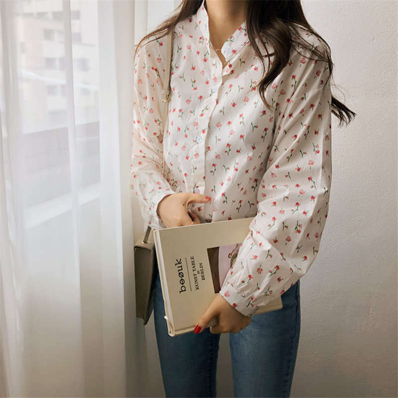 HziriP Korean Stand Florals Cute 2020 Brief Chic OL Shirt Girls Sweet Loose Women Blouses Basic Femme Blusas Camisas Mujer