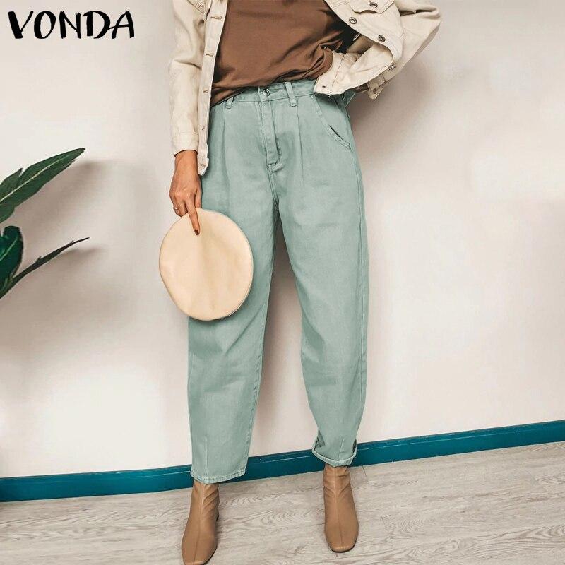 VONDA Fashion Pants 2020 Women Casual Solid Color High Waist Zipper Cropped Pants Retro Straight Trousers Plus Size Pantalon