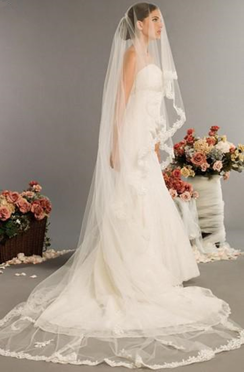 Fashion Party Appliques Edge Hot Sale! New Elegant Lace Edge Long Bridal Veils 1 Layer Ivory White Wedding Accessories