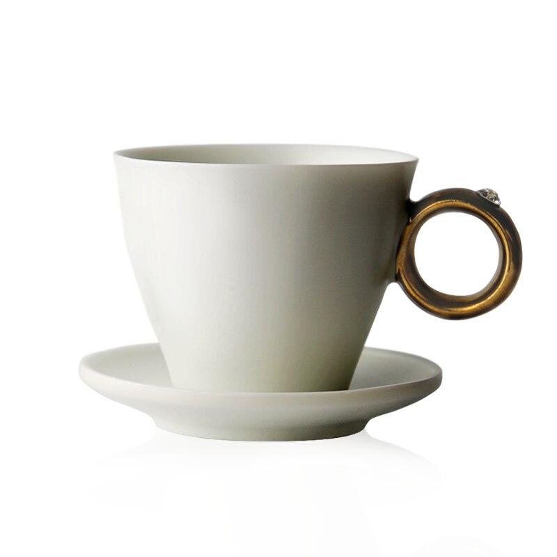 Chinese Tea Cup Set Porcelain Eco Friendly Simple Modern Ceramic Coffee Cup White Utensil Mug Crockery Xicara Drinkware EB50BD