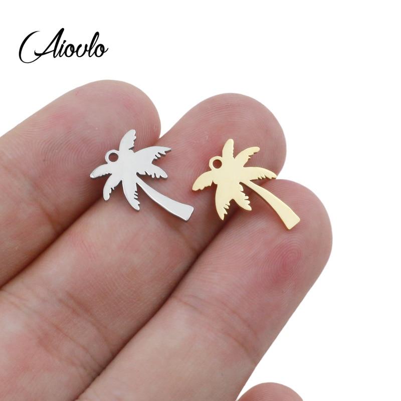 5pcs/lot 14x17mm Pendant Palm Tree Tree Stainless Steel Coconut Palms Charm Pendants For Jewelry Making Coconut Tree Pendants