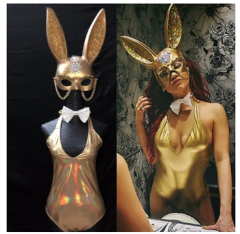 Party Bar Club Sexy Cosplay Costume Gold Crystals Rabbit Mask Sleeveless V Neck Bodysuit Female DJ Singer Dance Team Stage Wears