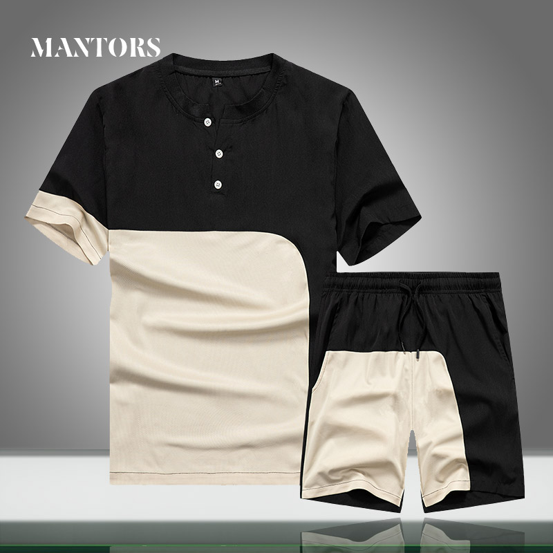 Men Sets Brand New 2020 Summer Men's Casual Tracksuit Clothing T-Shirts+Shorts 2PCS Splice Set Male Loose Streetwear Sport Suit