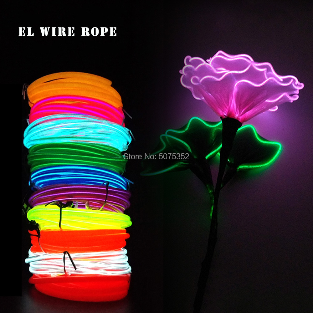 DIY Material 5.0mm Light Up Glowing EL Cable Tube Birthday Payday Decor Flexible Neon Light Waterproof Led Strip