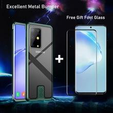 S20 Ultra Case arka koruyucu temperli cam kapak için Samsung S20 S20 artı Coque darbeye dayanıklı Metal tampon telefon kabuk S20 ultra