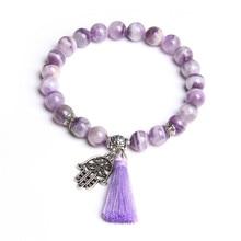 Натуральный Фиолетовый Мечта кристаллы аметиста камень Бусины подарочные браслеты и ювелирные изделия серебро Фатима ручной кисточкой браслеты для женщин