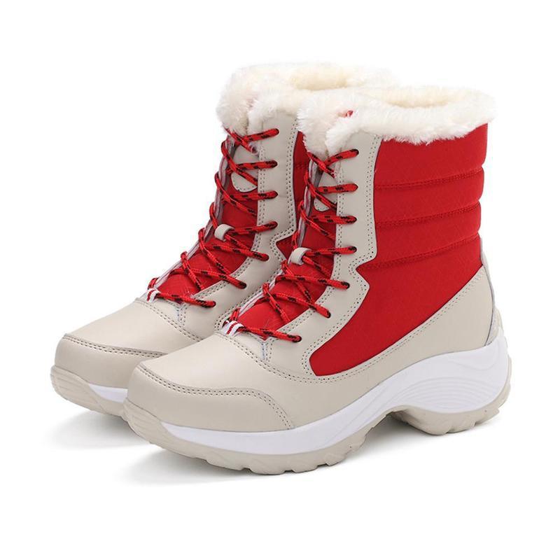 Зимние уличные теплые зимние сапоги Водонепроницаемый Нескользящие толстые сапоги на толстой подошве, теплая обувь на толстом высокого класса с бархатом для снежной погоды; - Цвет: A