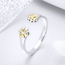 BISAER Rings 925 Sterling Silver Dog Paw Print Open Size Adjustable Finger Ring for Women Gold Color Animal Femme Bague GXR430 925 sterling silver lucky cloud rings for women jewelry fashion opening adjustable finger ring lady gift bague femme