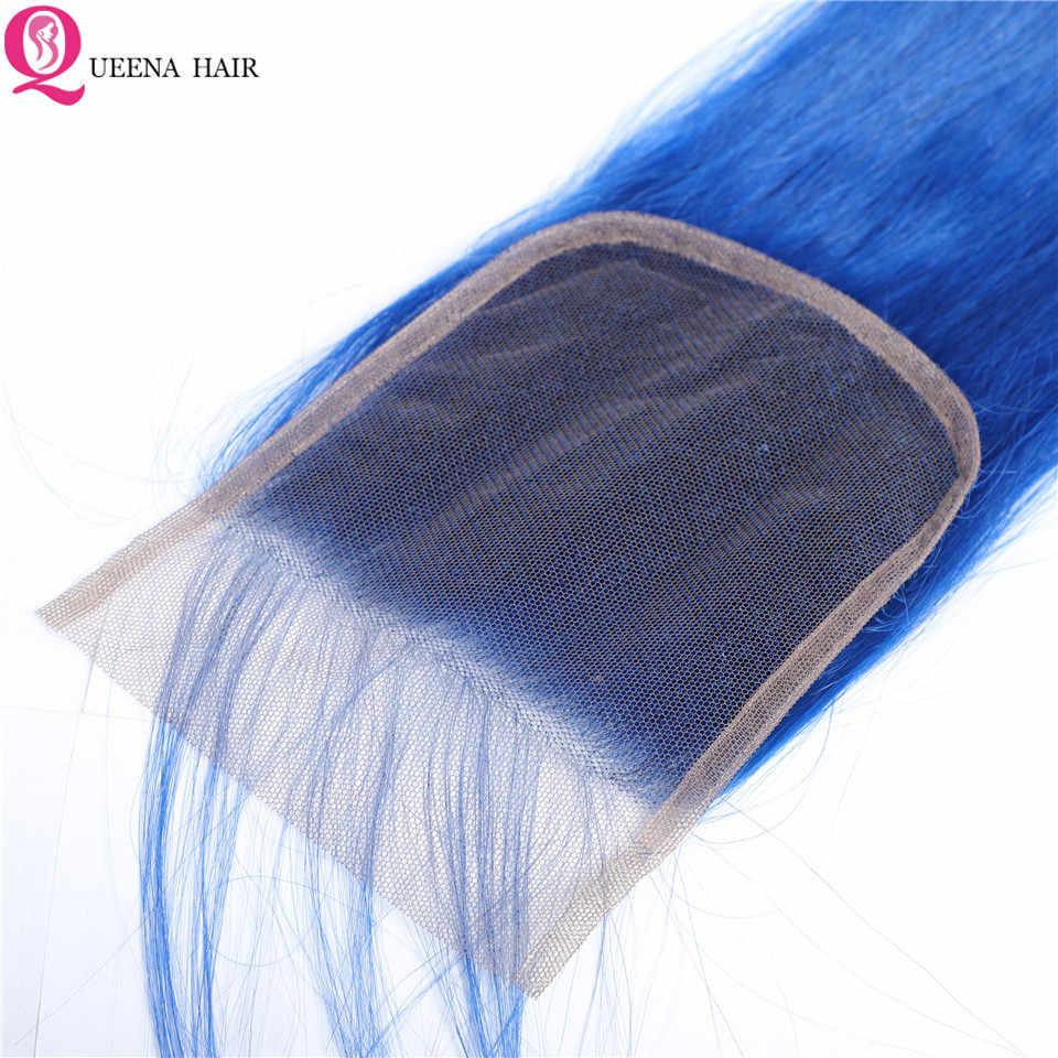 Paquetes azules con cierre mechones de pelo brasileño de colores con cierre paquetes de cabello humano recto y cierre de cabello Remy