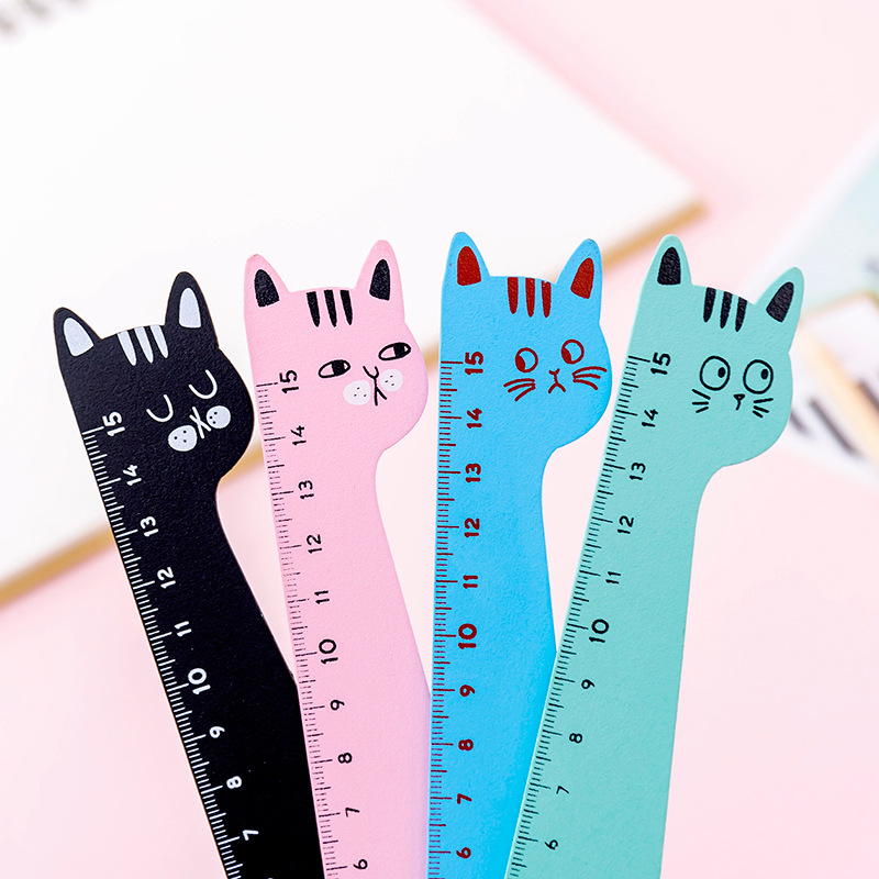 Cute Cartoon Animal Shape Cat Wood 15cm Straight Rulers For School Study Office Supplies Stationery Wooden Ruler