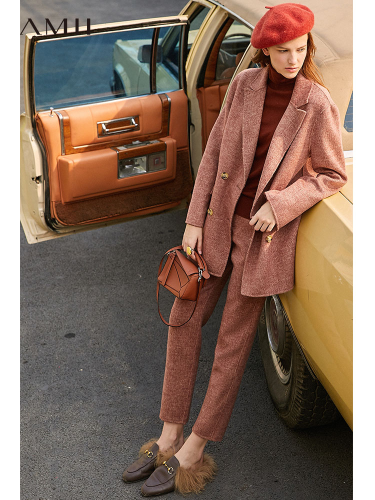 Amii Retro Two Piece Set Spring Women Elegant Double Breasted Turn Down Collar High Waist Long Pants Office Lady Suits 11920245