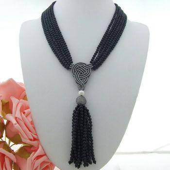 "20"" 6 Strands White freshwater Pearl Round Onyx Necklace Zircon Pendant"