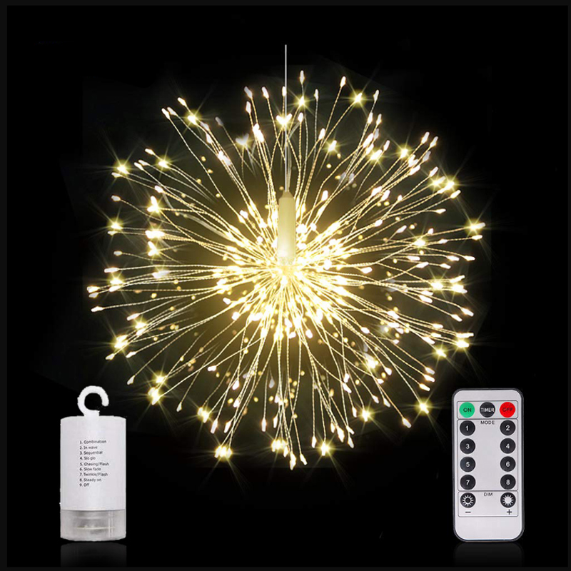 100-200 Leds Hanging Starburst String Lights Fairy DIY Firework Copper Wire Christmas Lights Garland For Party Home Decor