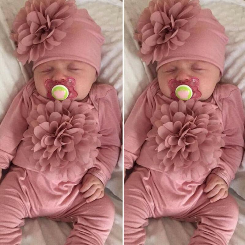 2PCS Newborn Baby Girl 0-18M Clothes 3D Flower   Romper   Jumpsuit Hat Outfit Set