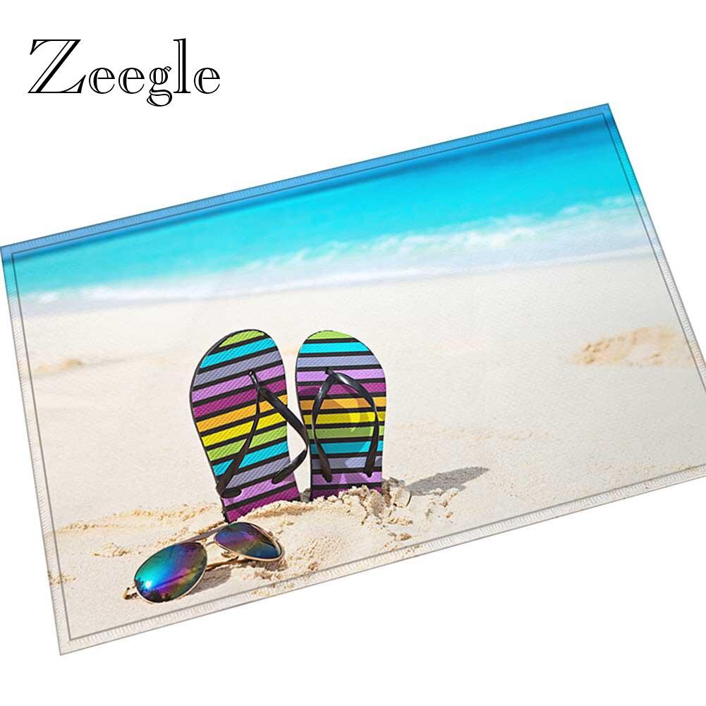 Zeegle 3D Beach Printed Door Mat Outdoor Carpet Non slip Doormat for Entrance Door Hallway Welcome Floor Rug Flannel Bath Mat|Carpet| |  - title=