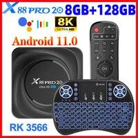 X88 Pro 20 RK3566 TV Box Android 11 8GB RAM 128GB ROM apoyo 8K 24fps 2,4G/5G WiFi 1000M de Google Play Youtube X88pro GB 32GB 64GB