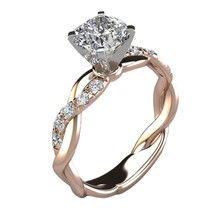 Multicolor Plated 18k Gold Double-decker Crown Ring White Topaz Rincess Diamond Rings Women Golden Silvery RoseGold Jewelry Gift(China)
