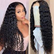 Shinelady onda de água peruca 4x4 fechamento do laço peruca perucas de cabelo humano 150% densidade peruano remy fechamento perucas para cabelo humano preto