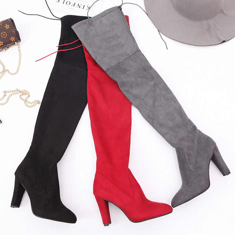Seksi Kadın Çizmeler over-the-diz Çizmeler Kış Ayakkabı Kadın Uyluk Yüksek Çizme Moda Batı Topuklu Çizmeler Kadın ayakkabı Artı Boyutu 44