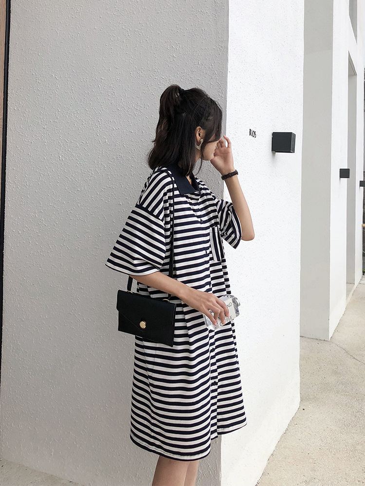 Stripes Pocket Loose-Fit Slimming Short-sleeved Polo Shirt T-shirt Women's Autumn 2018 New Style Students Dress