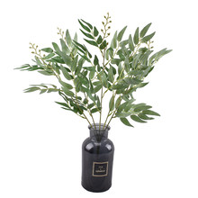 6 prongs artificial olive branch bouquet fake leaves green family wedding decoration plant jungle party arrangement DIY flower