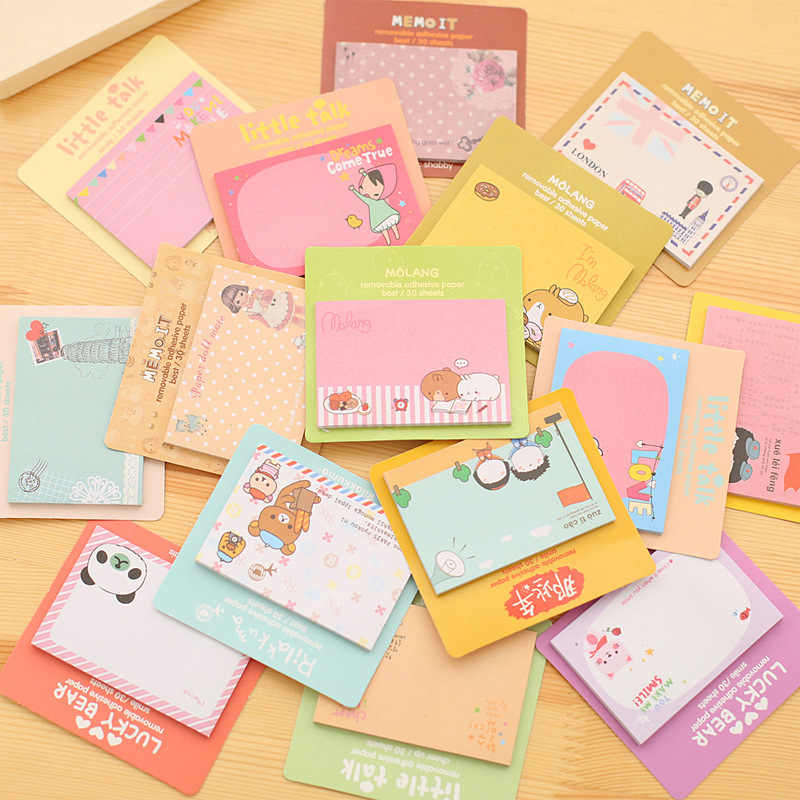 24 PCs Korean Stationery Cute Post-it Stickers Cartoon Creative Notes South Korean Nth Post