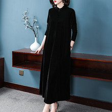 Chinese style stand collar Elegant Maxi Dress plus size Spring Autunm velour