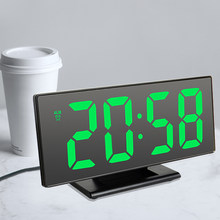 Cyfrowy zegar z budzikiem LED lustro zegar elektroniczny duży wyświetlacz LCD zegary cichy cyfrowy zegar stołowy z kalendarz z termometrem