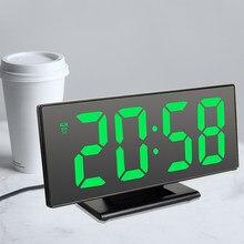 Cyfrowy zegar z budzikiem LED lustro zegar elektroniczny duży wyświetlacz LCD tablica cyfrowa zegary z kalendarz z termometrem