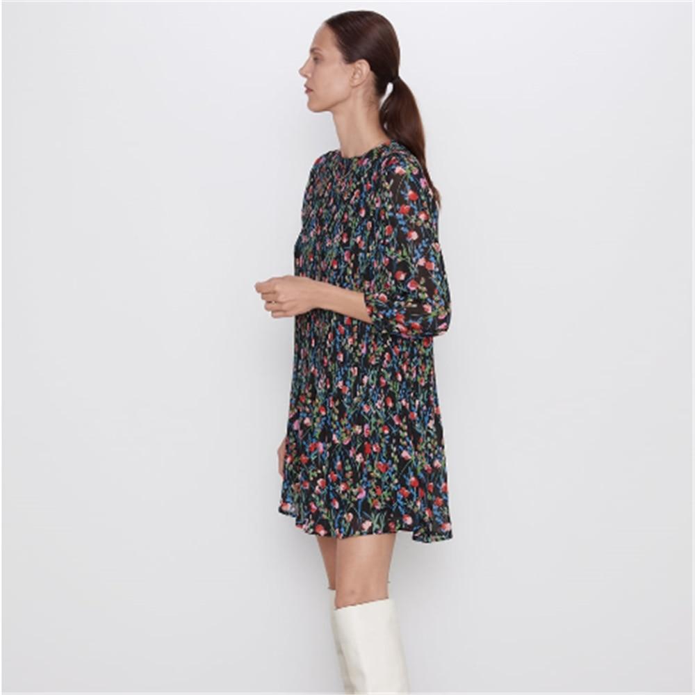 2019 платье ZA осеннее Новое Женское Платье с принтом маленькое Плиссированное Платье Бохо с круглым вырезом с длинным рукавом Короткое платье модное женское тонкое платье