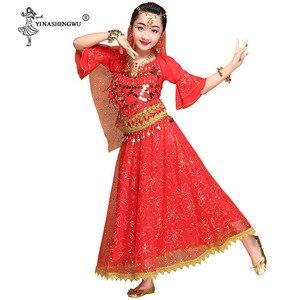 Image 5 - Meninas bollywood trajes de dança do ventre conjunto crianças dança do ventre dança oriental índia sari chiffon palco desempenho terno novo