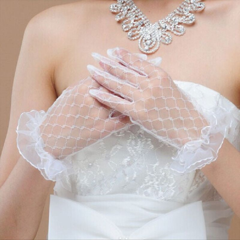 1 1 Pair White Bridal Wedding Short Gloves Full Fingered Transparent Rhombic Gauze Ruffle Lace Trim Wrist Length Mittens Party