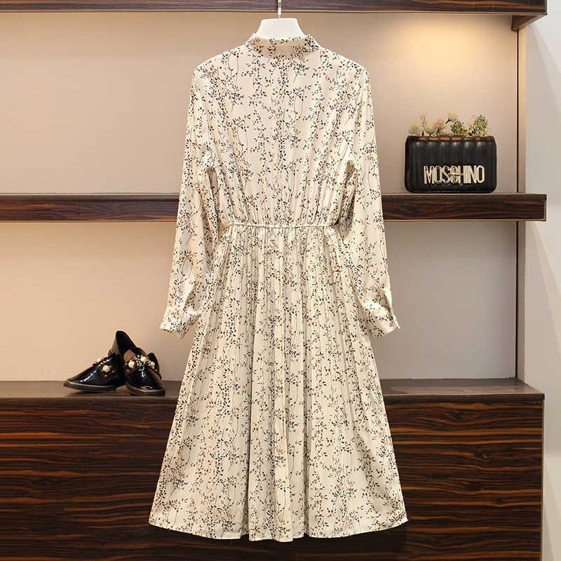 Early Autumn 2009 New Large Size Women's Wear Fat Mm Fashion Slim Medium-length Chiffon Dresses