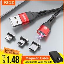 PZOZ كابل مغناطيسي مايكرو USB C شحن سريع محول مايكرو نوع C المغناطيس شاحن نوع C كابل آيفون سامسونج شاومي الحبل