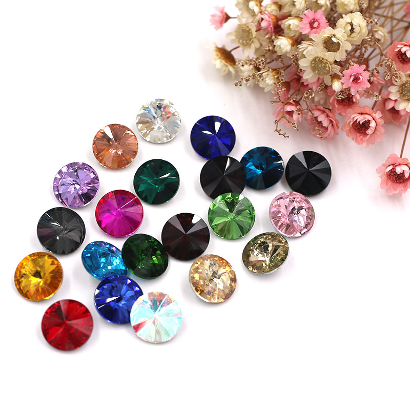 HOT SALE round Pointback crystal glass glue on rhinestones DIY Watch Wedding dress High grade jewelry accessories