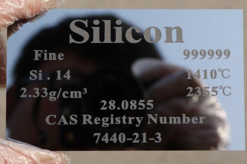 Silicium Si 99.9999% 8.96g élément sculpté feuille de Table périodique 0.65*60*100 Mm