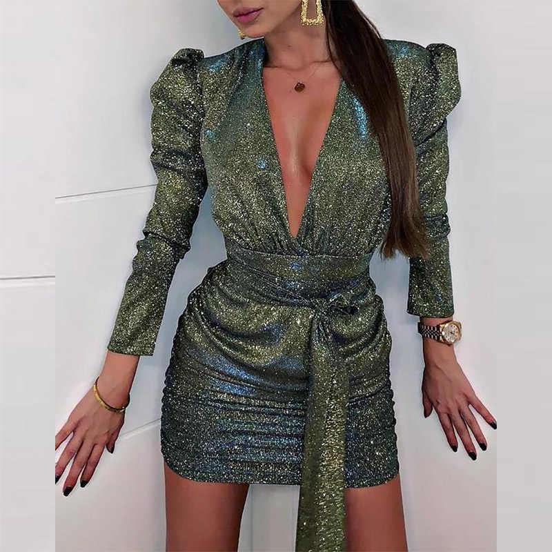 セクシーな V ネックスパンコールラップボディコンドレス女性秋長袖グリッターミニドレスゴールドエレガントな包帯スリムパーティードレス Vestidos