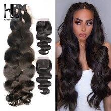 HJ Weave יופי גוף גל שיער טבעי חבילות עם סגירת 8 30 32 34 38 אינץ 7A רמי שיער ברזילאי שיער Weave חבילות